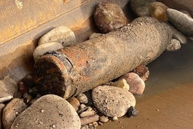 artillery shell found in the Rhine