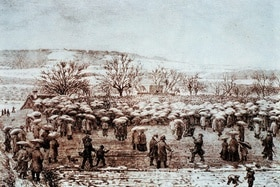 old print from 1867 of people gathering