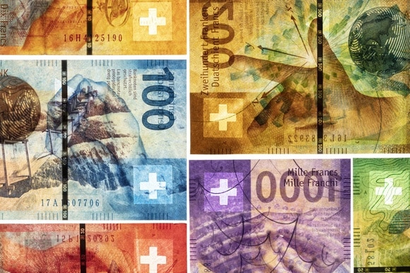Swiss bank notes in close-up