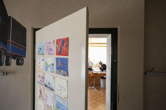 school door to classroom