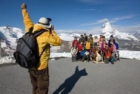 Tourists in front of Matterhorn mountain