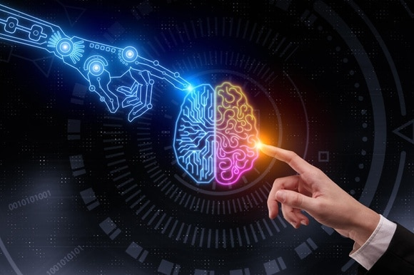 A 3D rendering of two hands pointing at glowing digital brain. Artificial intelligence and future concept.