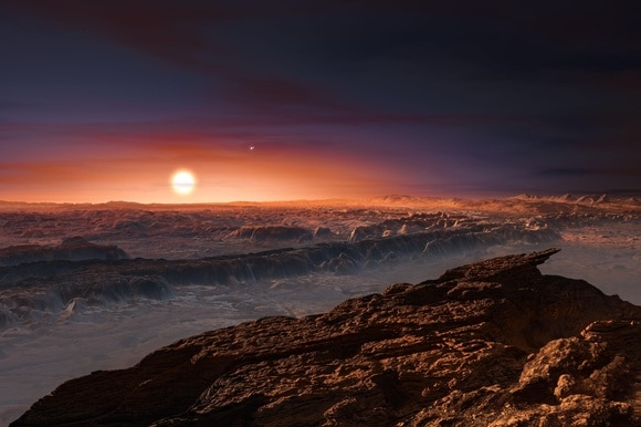 artist's impression of the surface of the planet Proxima b