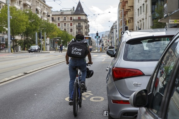 Uber Eats courier in Geneva