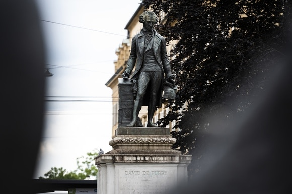 Statue of entrepreneur and benefactor David de Pury (1709–1786) from Neuchâtel
