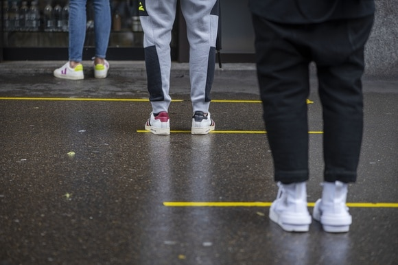 Social distancing in Switzerland is being reduced from 2 metres to 1.5 metres from Monday.