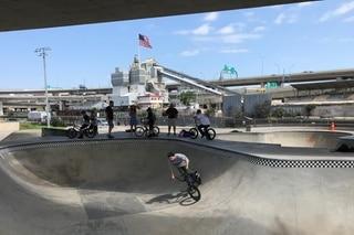 Youths at a skatepark