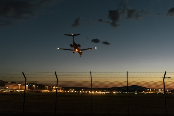 Plane landing at Zurich airport