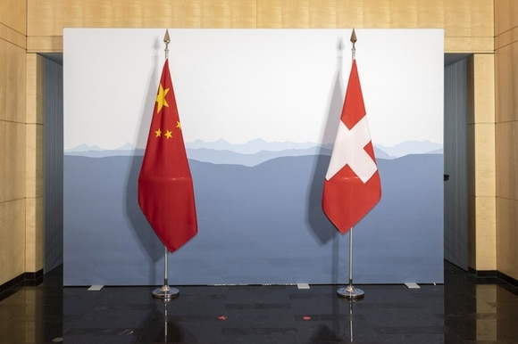 swiss and chinese flags