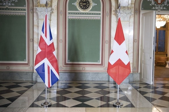 Flags of Switzerland and Britain
