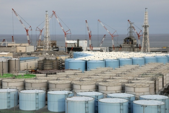 Water tanks at the nuclear power plant in Okuma, Fukushima, in Japan.