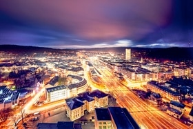 Overview of Winterthur at night