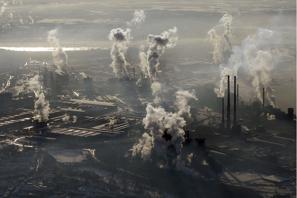 Smoking chimneys of a steel company