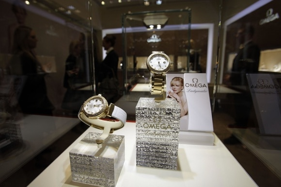 Watches on display in window