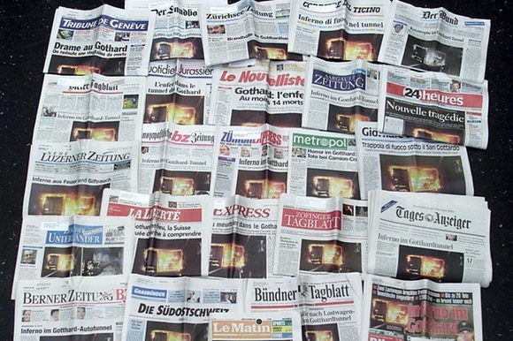 Front pages of Swiss newspapers