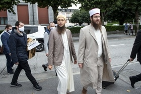 Nicolas Blancho (right) and Qaasim Illi (right) of the Islamic Central Council of Switzerland (ICCS).