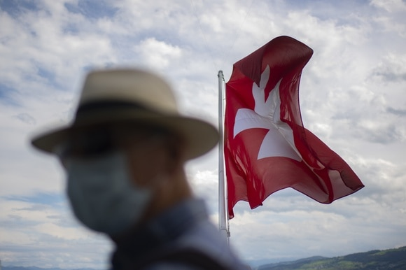 Blurred picture of man with hat and mask in front of Swiss flag
