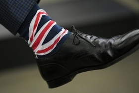 Sock with British flag