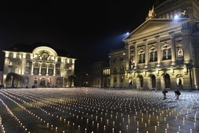 The square in front of the parliament building, candles