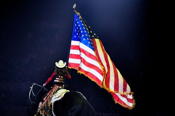 Rodeo Queen with US flag