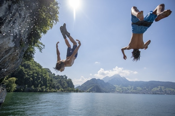 Jumping into Lake Lucerne