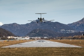 Airplane landing at airport