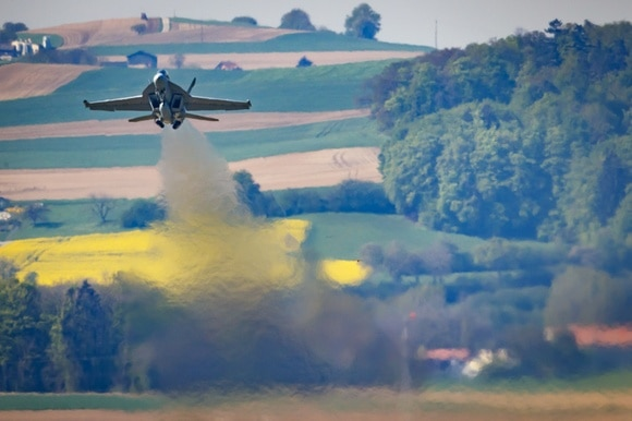 Swiss fighter jet taking off