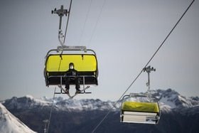 Skier on a chairlift