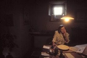 Patricia Highsmith in her home in Tegna