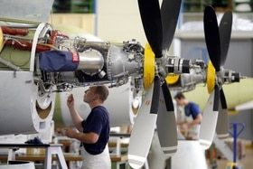 A Pilatus PC-21 aircraft being worked on in Stans, canton Nidwalden.