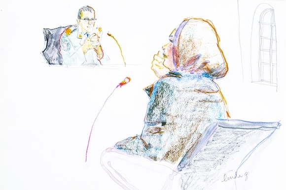 woman in court by artist