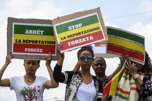 Demonstration against forced repatriation flights to Ethiopia