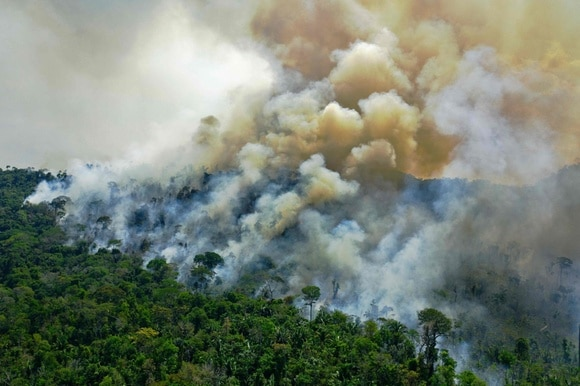 Aerial view of fires of the Amazon rainforest reserve, south of Novo Progresso in Para state, August 16, 2020.