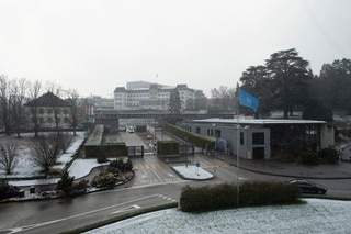 Palais des Nations under the snow. 25 January 2021.