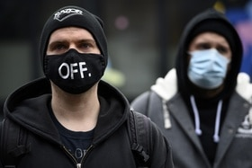 Protestor wearing mask