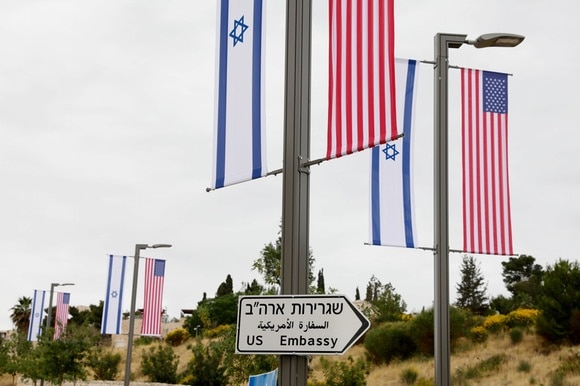 US and Israeli flags in Jerusalem