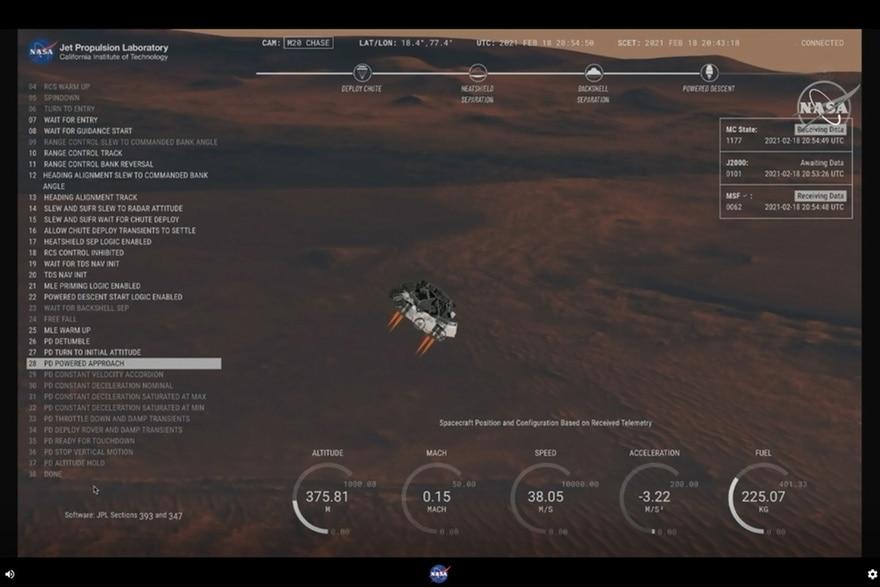NASA показало посадку ровера Perseverance на Марс с камер на его борту. ВИДЕО 1