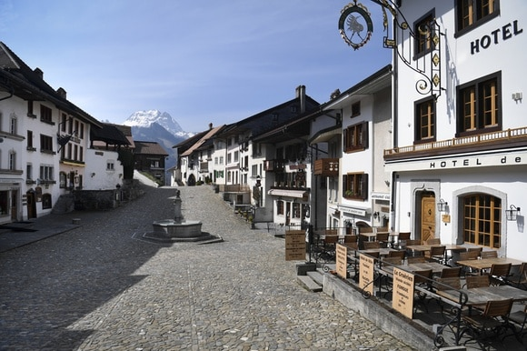Empty street with mountain view