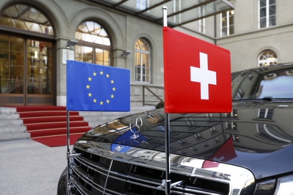 EU and Swiss flags on a car