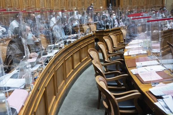 Empty chairs in the House of Representatives