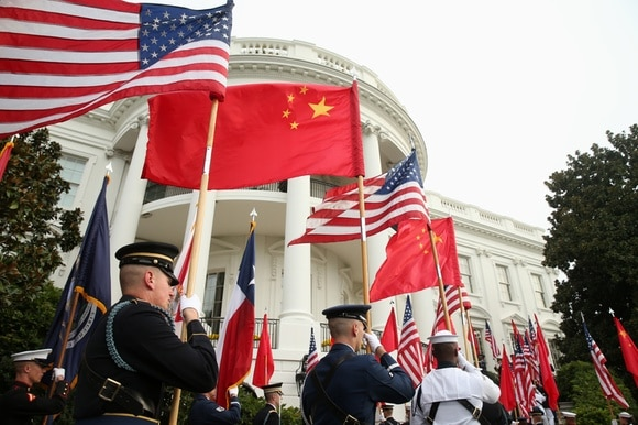 US and Chinese flags in Washington, DC