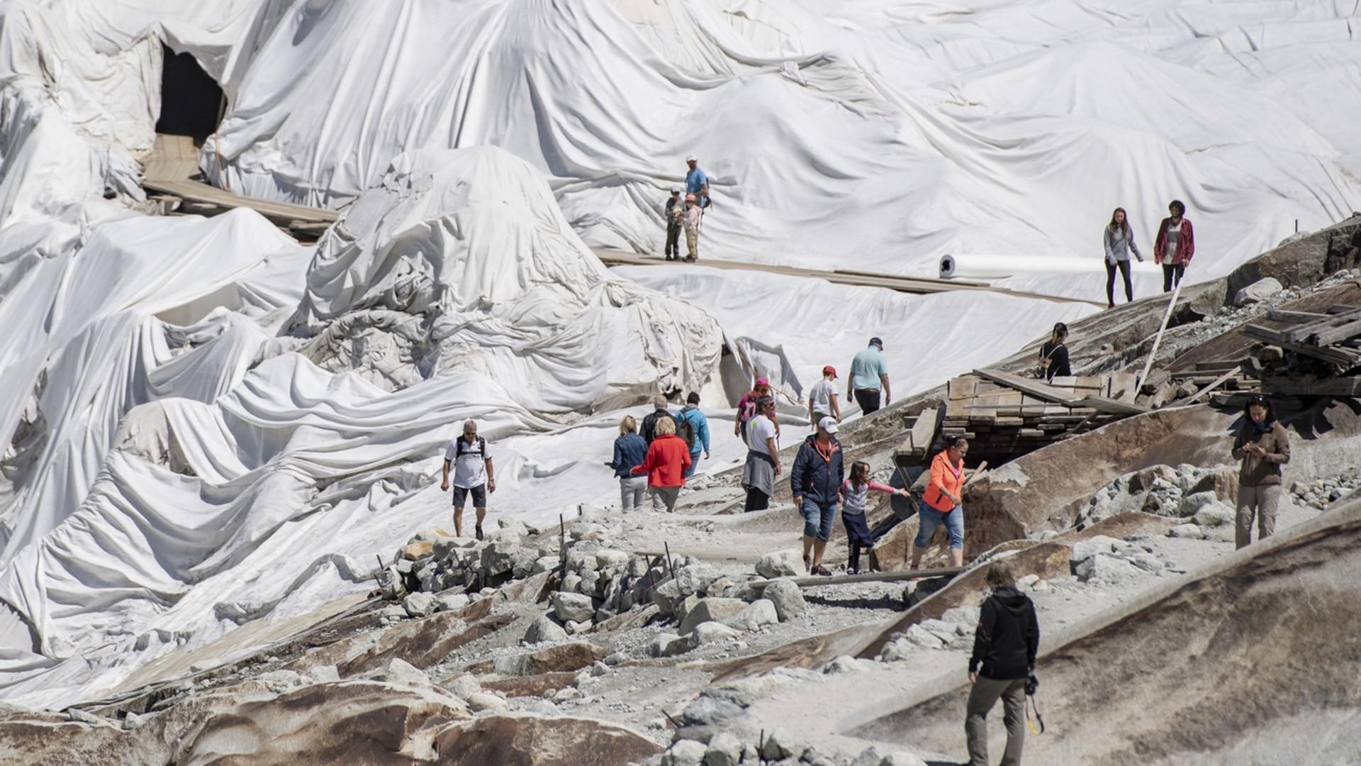 Glacier tarpaulins an effective but expensive shield against heat