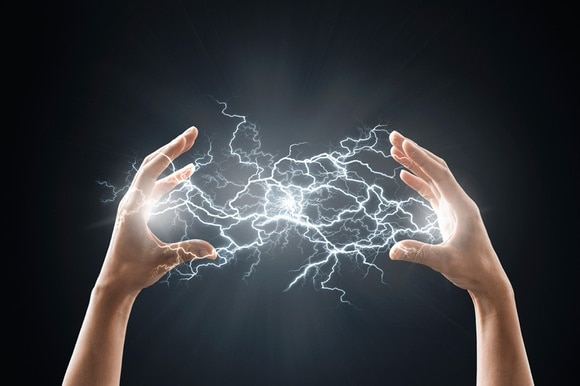 lightning between two hands
