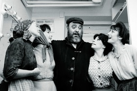 Backstage scene from Fiddler on the Roof