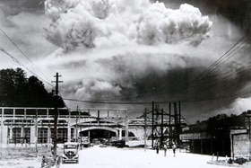 the mushroom cloud photographed from the ground of the 09 August 1945 atomic bombing of Nagasaki.
