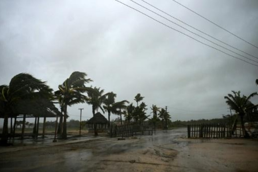 Der Strand von Batabanó, 60 km südlich von Havanna, am 27. August 2021, als der Hurrikan Ida über den Osten Kubas hinwegzieht. | Bildquelle: https://t1p.de/mrcf © afp_tickers | Bilder sind in der Regel urheberrechtlich geschützt