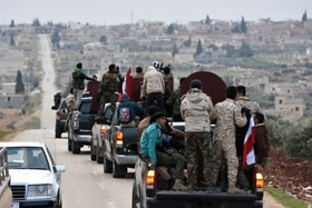 Kurds on a lorry